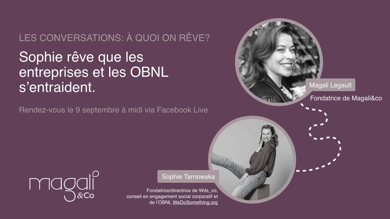Sophie Tarnowska 9 septembre: L'entraide entre entreprises et OBNL